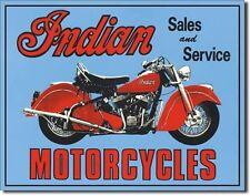 Vintage Replica Tin Metal Sign Indian sales & service motorcycles blue bike 127