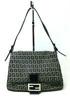 Fendi Mamma Baguette Zuccino Navy Canvas Leather Shoulder Hand Bag Authentic