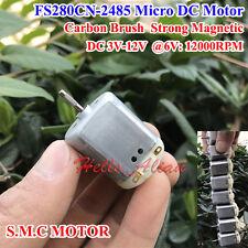 DC 3V~12V 6V 7.2V High Speed Carbon Brush Mini 280 DC Motor Strong Magnetic Toy