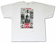 """JOHNNY CASH """"COLLAGE"""" WHITE T-SHIRT MAN IN BLACK NEW OFFICIAL ADULT 2XL XXL"""