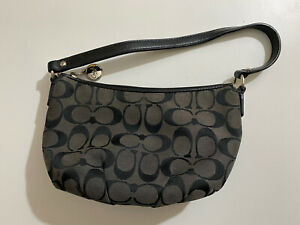 Coach Black Signature Wristlet Bag Purse Clutch Canvass Monogram Charms