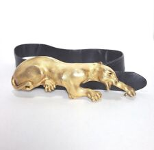 Vintage Christopher Ross Huge Leopard Belt Buckle & Belt 1985 Gold Wearable Art