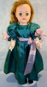 """1950s Ideal Toni Doll 19"""" Walker V 92 P-19 Green Taffeta Dress"""