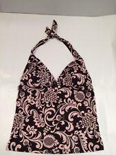 Debenhams Ladies Tankini Top Brown Pink Floral Embellished Halter Neck Size 14
