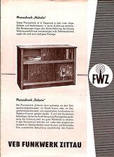 altes Faltblatt RFT VEB FUNKWERK ZITTAU 1956 Phonoschrank, Phonokoffer   ( 4834