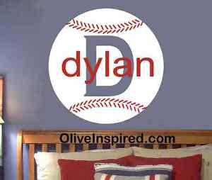 Baseball Sport Theme PERSONALIZED NAME Vinyl Wall Decal Art Nursery Boys Room