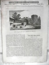 ANTICA STAMPA INCISIONE 1843 Porta di Adrianopoli Aereo a vapore di Henson Nani