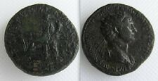 Da collezione Roman Bronze sestertius monete di traiano-Fortuna seduto a sinistra