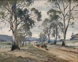 """Original Oil Painting By Dermont James Hellier """"The Road To Licola Gippsland"""""""