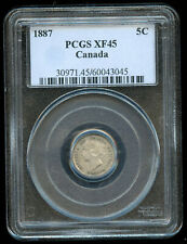 1887 Canada Five Cents Key Date - PCGS XF45