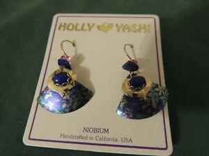 HOLLY YASHI Signed Drop Dangle Earrings Blue Niobium Metal
