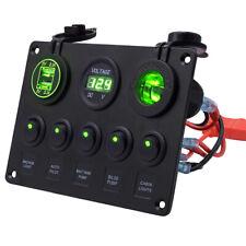 12V/24V Waterproof 5Gang Rocker Switch Panel Green LED Light Car Marine Boat RV