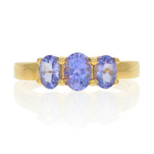 Sterling Silver Tanzanite Three-Stone Ring - 925 Gold Plated Oval 1.30ctw Size 9