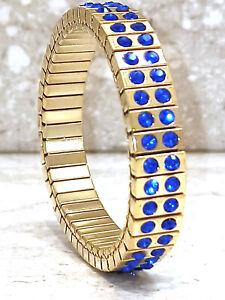 Sapphire Bracelet gift for women blue jewelry gift for her 24k GOLD HANDMADE 2ct
