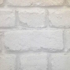 Rustic Metallic Pearl White & Grey Brick Look Wallpaper - Industrial / French -