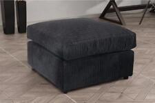 New Bajna Jumbo Cord Black Fabric Footstool Pouffe Ottoman Stool Beautiful Soft