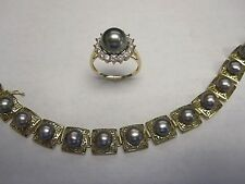 14kt Yellow Gold Silver Pearl CZ Bracelet Ring set