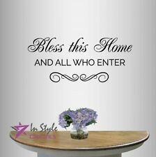 Vinyl Decal God Bless This Home Phrase Quote Bible Religion Wall Sticker 2464
