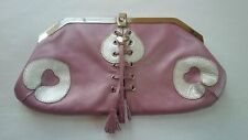 LOVCAT PARIS Genuine Leather Laced Clutch Bag - Dusty Pink & Silver