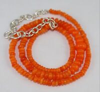 "46 TCW 16"" 3to6 mm Natural Ethiopian Orange Opal Beads 925 silver Necklace B1904"