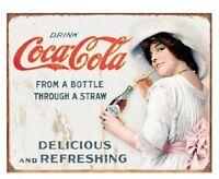 Coca Cola Vintage Girl Advertising Retro Metal Tin Sign Coke