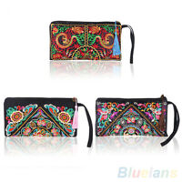 Women Retro Unique Ethnic Embroider Purse Wallet Card Coin Holder Phone Bag