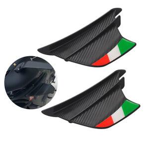 2PCS Carbon Fiber Motorcycle Side Winglets Air Deflector Wing Kit Spoiler Matte