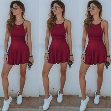 NEW Women Summer Casual Sleeveless Evening Party Beach Dress Short Mini Dress 01