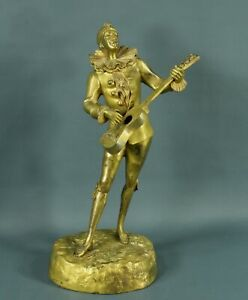 Early 1900s Art Deco Signed French Bronze Sculpture HARLEQUIN PLAYING GUITAR