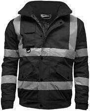 Mens New Hi Viz High Visibility Bomber Safety Work Black Hooded Jacket Coat SIA