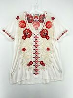 JOHNNY WAS White Red Floral Embroidered Short Sleeve V-Neck Shirt Women's XS