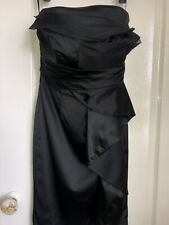 Ladies Dress Size 8 By Coast Satin Look Strapless Black