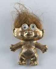 """Vintage Gold Colored Troll With Googly Eyes Necklace Pendant Metal 1.5"""" 1960's"""