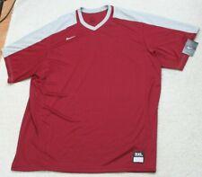 New Nike Dri Fit Burgundy Red V-Neck T-Shirt Top Short Sleeve Polyester Mans 3XL
