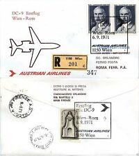 Aerogramma raccomandato volo Vienna->Roma 6.9.1971-AUSTRIAN AIRLINES DC9(809AA)