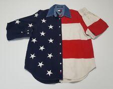 Vintage Tommy Jeans Hilfiger American Flag Shirt Women's 6 90's long sleeve euc