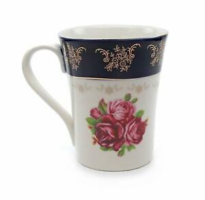 "Royalty Porcelain ""Cobalt Blue Floral Red"" Tea Mug, 24K Gold Czech Porcelain"