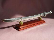 SILVER FINISH METAL SWORD ON A MAHOGANY BASE DISPLAY