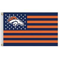 Denver Broncos 3x5 Foot American Flag Banner New