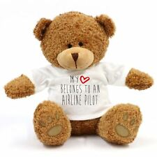 My Heart appartiennent au to an Airline Pilote Large TEDDY BEAR-Poison, Work, Love