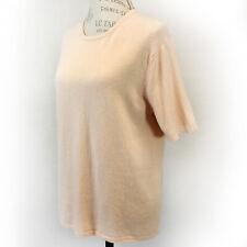 Talbots 2-Ply 100% Cashmere Knit Short Sleeve Crew Neck Ivory Sweater Medium