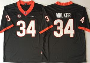 NEW Mens Georgia Bulldogs Black #34 WALKER Football Jersey
