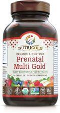 NutriGold Prenatal Multi Gold Plant-Based Whole Food Organic 90 Capsules