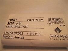 Full package of 360 Swarovski Bicone Beads in 6mm Lt. Amethyst. #5301