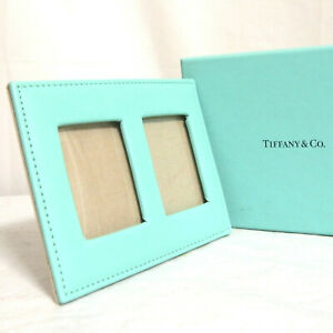 Auth Tiffany & Co. Blue Leather Standing Photo Picture Frame Case Cover in Box