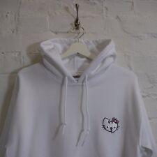 """""""W"""" x Hello Kitty Japanese Cartoon Vintage HipHop White Hooded Sweatshirt Hoodie"""