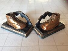 Vintage Bronze/Copper Plated Metal Baby Shoe Bookends