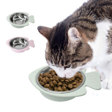 Cute Stainless Steel Pet Cat Food Bowls Non Slip Water Dishes Fish Shaped Feeder