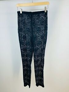Versace Istante Vintage 80's Black Full Lace High Waisted Slim Trousers UK S