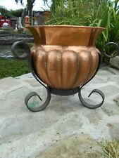 Vintage French copper planter/jardiniere with wrought iron stand arts and crafts